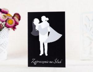 zdjęcie czarno białego zaproszenia ślubnego