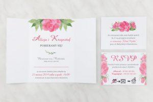 ślubne zaproszenie w kolorze różu